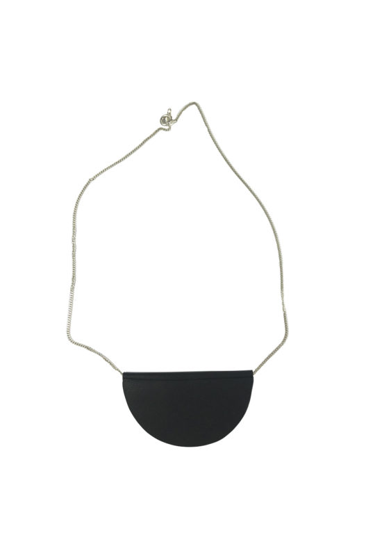 Short half moon leather and silver necklace