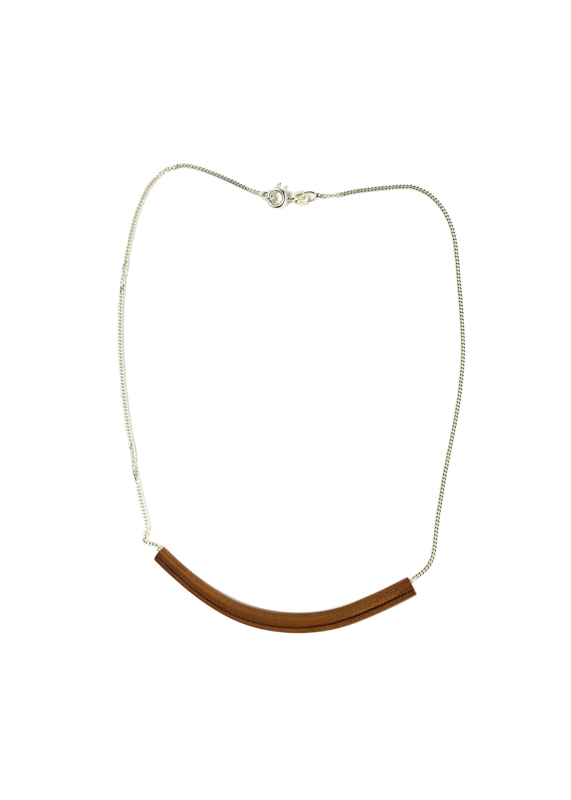 Short snake necklace made of claf leather and silver chain.